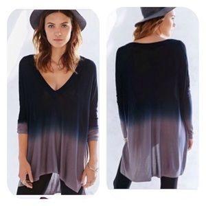UO Pins + Needles Blue/Gray Ombré Hi Low Sweater